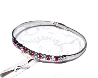 Silver bracelet to open, Bangle silver Zirconia to open bracelet precious stone