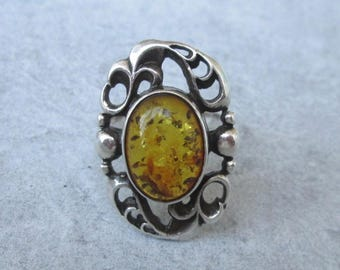 US size 6.8 UK size n antique jewelry sterling silver silver Gr 54 Antique Amber ring Art Deco amber ring