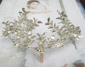 Vintage plateado corona de Myrtle, Myrtle boda corona, tiara nupcial, plata plateado, corona de novia antiguo 1940-11