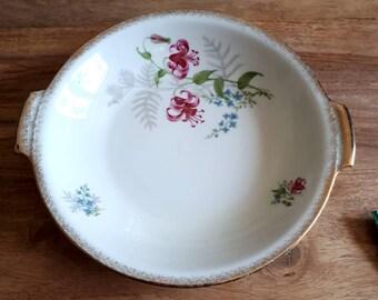 Gebäckschale Porzellan Schale Moschendorf Bavaria, Vintage Cockie Plate Bowl, German Porcelain Flowers, Keks Teller mit Goldrand Vintage