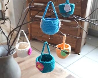 Miniatur Osterkörbchen zum aufhängen, Miniature hanging Ester Basket, gehäkelte Körbchen crocheted Esterbasket