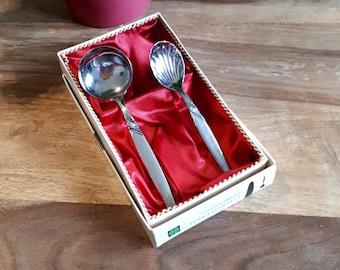 Vintage Sahnelöffel u. Zucker Löffel versilbert, Cream Sugar Spoon Silver Plates, Kleeblatt Rose, Roses Clover