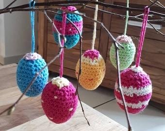 Gehäkelte Ostereier zum aufhängen, hanging Easter Eggs crocheted, Eier Ostern Dekoration gehäkelt, Osterdekoration