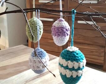 Der gehäkelte Ostereier zum aufhängen, crochet Hanging  Easter Eggs, Eier gehäkelt Osterstrauch Ei Osterdekoration Ostern