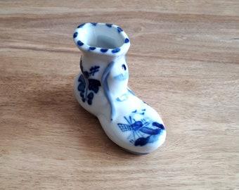 Holländischer Keramik Schuh groß, Vintage Dutch Ceramic Shoe, Niederländischer Holzschuh Windmühlen,Souvenier Holland
