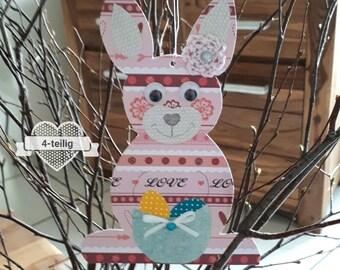 4-teiliges Set Osterhasen zum aufhängen und Geschenkverpackung, Satz Hanging Easter Bunny Gift Packaging, Geschenk Ostern