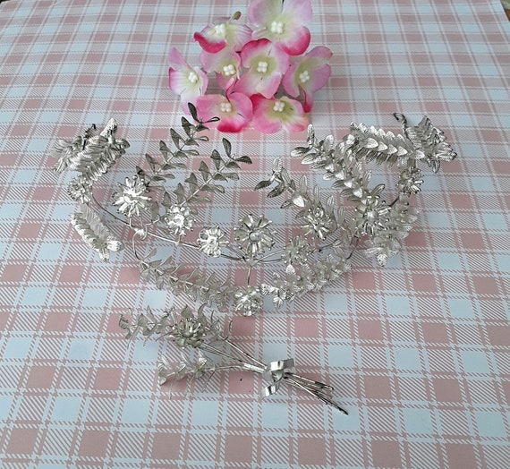 Genuine Silver Vintage Wedding Crown, Myrtle Tiara
