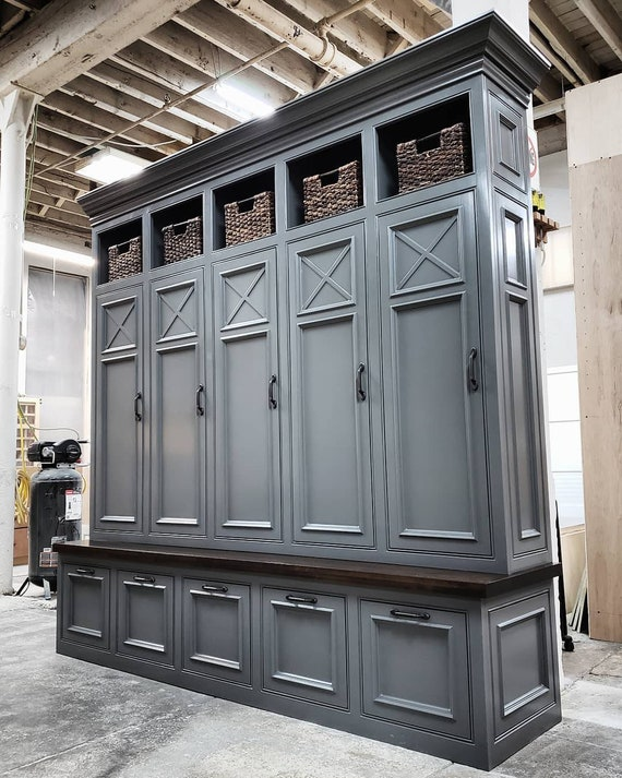 Outstanding The Asheville Gray Mudroom Lockers Storage Bench Cubbies Halltree Furniture Entryway Shoe Storage Coat Hook Inzonedesignstudio Interior Chair Design Inzonedesignstudiocom