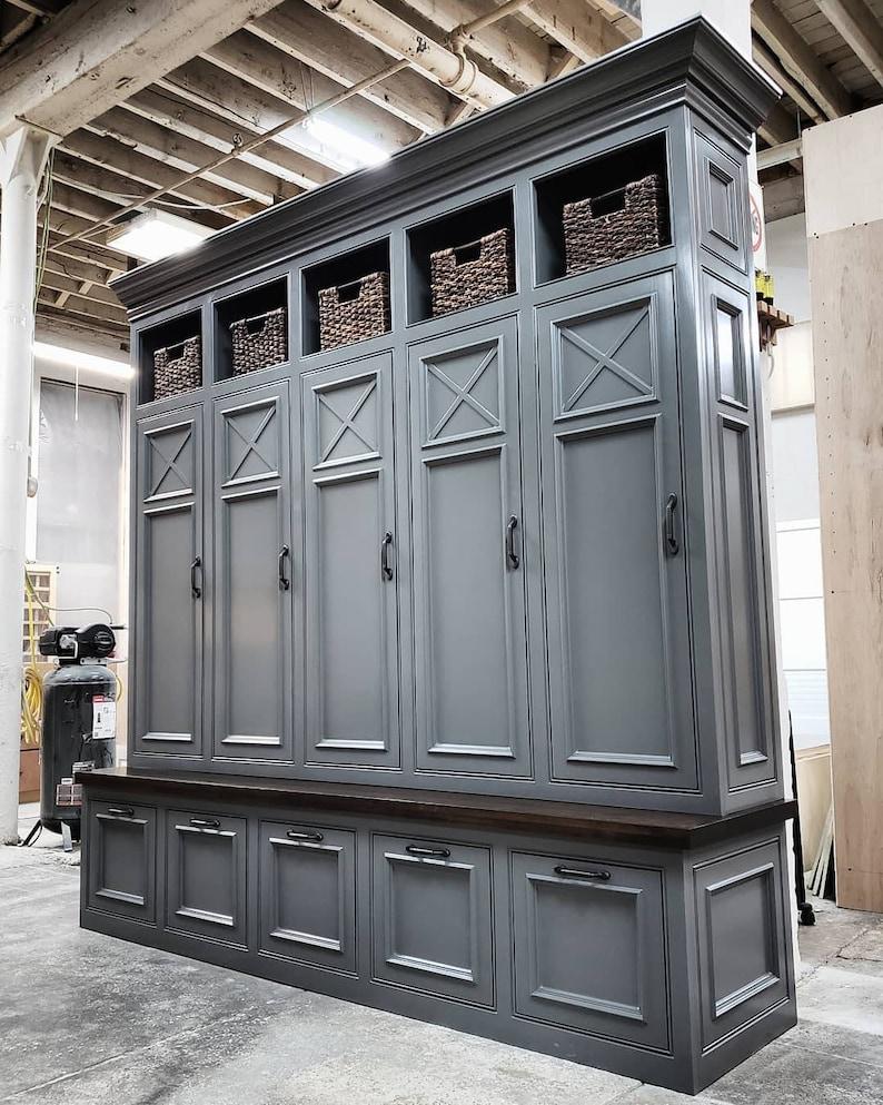 THE ASHEVILLE GRAY Mudroom Lockers Storage Bench Cubbies Halltree Furniture  Entryway Shoe Storage Coat Hook
