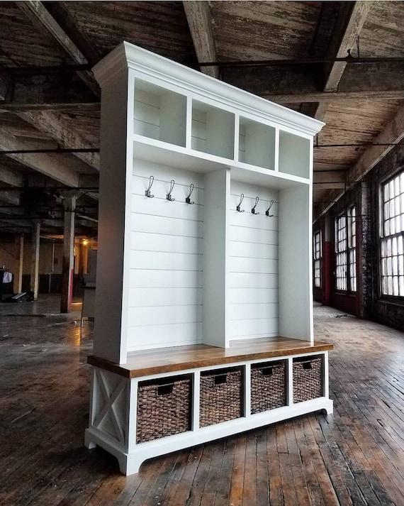 The Memphis Mudroom Lockers Bench Storage Farmhouse Furniture Cubbies Coat Rack Hall Tree Reclaimed Rustic Farmhouse