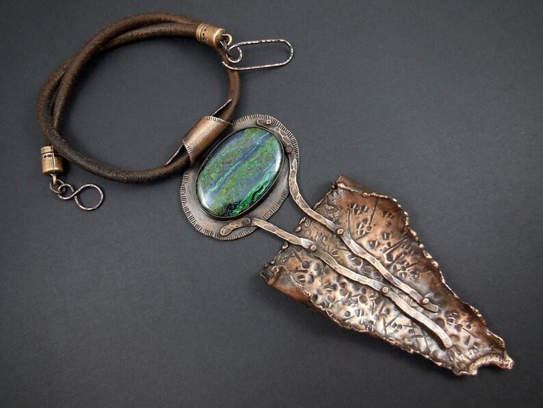 Azurite cabochon pendant-copper and stone metalwork necklace