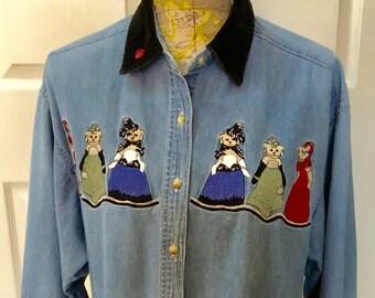 Vintage Quizz Embroidered Demin Shirt / SZ L to XL / Button Down / 1980's / Boho / Retro / Teddy Bear Shirt / Hippie