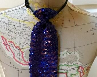 Vintage  Sequin Necktie Necklace / Purple Sequin  / Adjustable / Mod / Disco / Abstract 1960's / Avant-garde