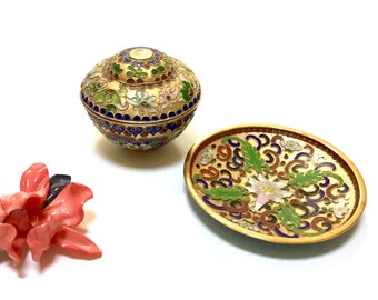 Vintage Cloisonné  Box & Dish / Jewelry Storage / Asian Box and Dish / Home Decor / Knick Knacks / Brass and Enamel / Collectibles