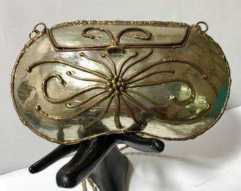 Vintage Mixed Metals Evening Bag / Crossbody / Retro / Boho / Hipster / Hippie / 1980's / Brutalist / Abstract / Avant-garde