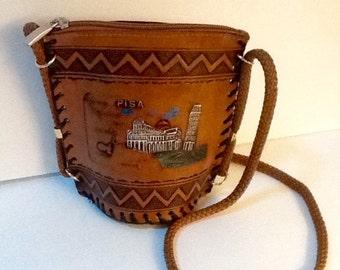 Vintage Pisa Italy Purse / Souvenir Purse / Small Shoulder Bag / Retro / Kitsch /  Boho / High Fashion / Hippie