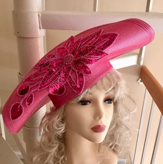 Vintage Pink Tilt Hat / Platter Hat / Cartwheel Ha