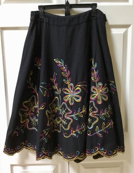 ae21795a141 Vintage Black Midi Sequin Skirt   Full Skirt   Circle Skirt