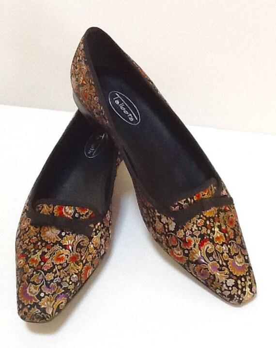 Vintage Satin Brocade Ballet Flat Evening Shoes Sz 8 Etsy