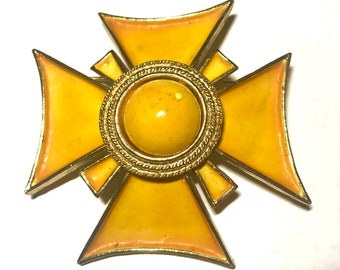 Signed Har Yellow Maltese Cross Brooch Pin Mid Century