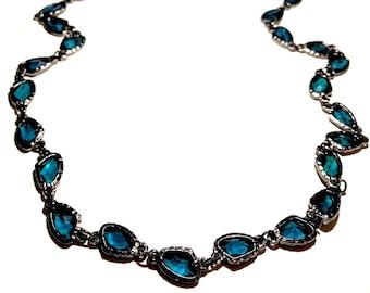 Dark Aquamarine and Gun Metal Long Chico's New Necklace
