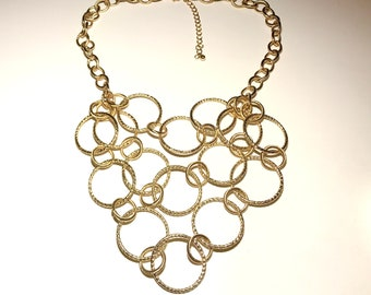 Gold 3-Strand Necklace of Textured Round Links