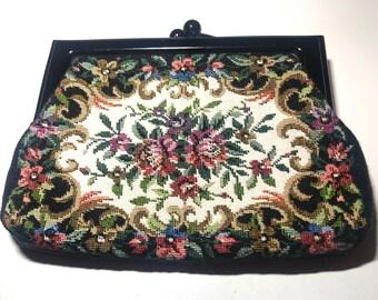 Vintage Black Floral Tapestry Small Bag
