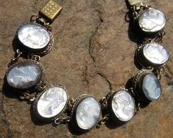 Estate Vintage 8 Carved Shell Cameos Bracelet