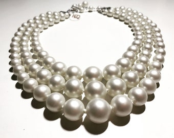 Vintage New 3-strand Graduated White Knotted  Pearl Necklace