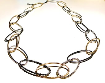 """Long 36-39"""" Necklace with Mixed Metal Links"""