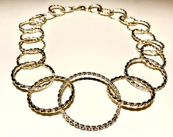 Necklace with Mixed Metal Gold and Silver Links