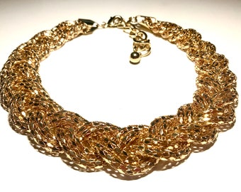 Necklace with 6 Braided Strands of Metal Gold Chains