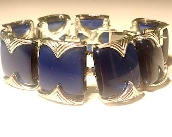 Blue Moonglow Thermoset Lucite Bracelet Mid Century