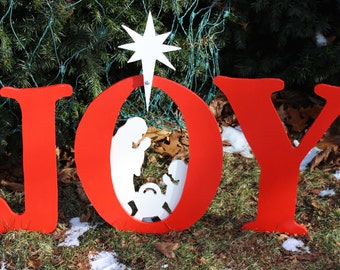 small joy nativity scene - Joy Outdoor Christmas Decoration