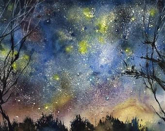 night sky painting - Starry night sky -  Starry night print -  night sky art print - night skyline