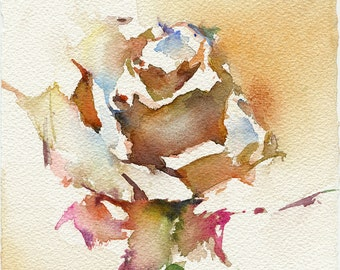 Print from watercolor rose painting - rose watercolor - rose print