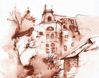Brown ink architecture drawing - tree and house ink drawing  -  washed ink on paper
