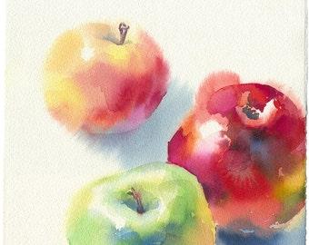 Apple painting print - apple watercolor fruit, rustic kitchen decor, kitchen decor ideas