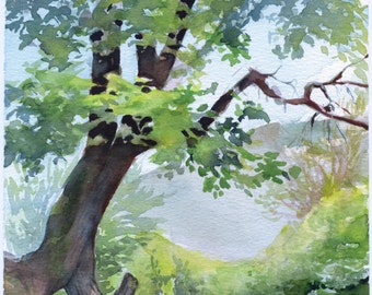 Tree watercolor painting print - wood painting , print on watercolor paper