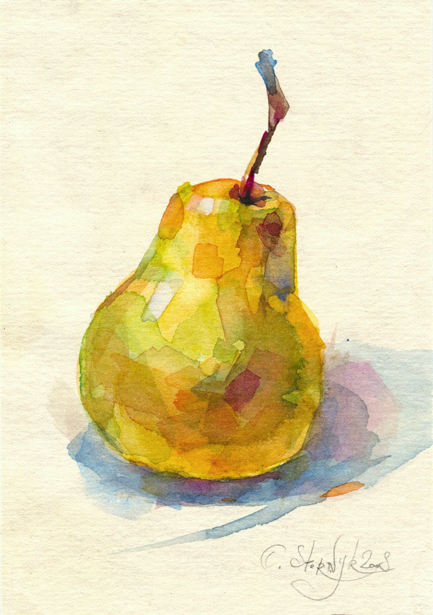 Watercolor pear painting print fruit painting still life.   Etsy