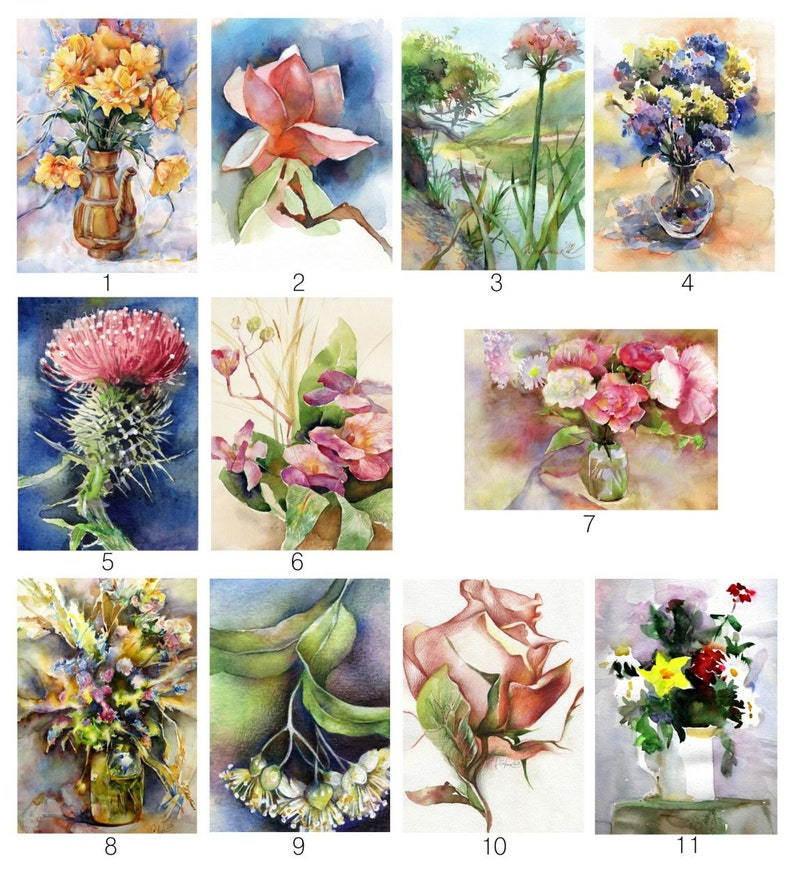 3x Watercolor painting print tulip flower painting ACEO Artist Trading Card