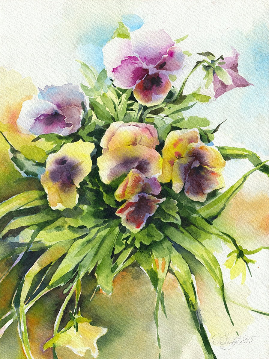 Flower Bouquet Painting Original Watercolor Painting Etsy