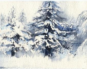 Winter tree art watercolor painting - winter tree art print or original, watercolour on paper