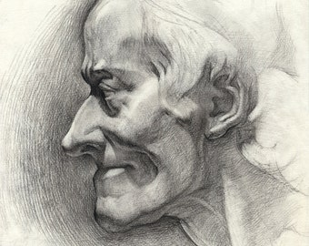 "Academical, classical sculpture drawing - original charcoal drawing - ""Voltaire"", charcoal pencil, paper"