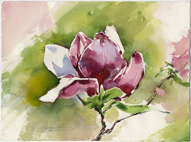 Różowy Magnolia akwarela-Magnolia Art Print-drukowanie z oryginalnego  purpurowego malarstwa kwiatowego, druk na papierze akwarelowym