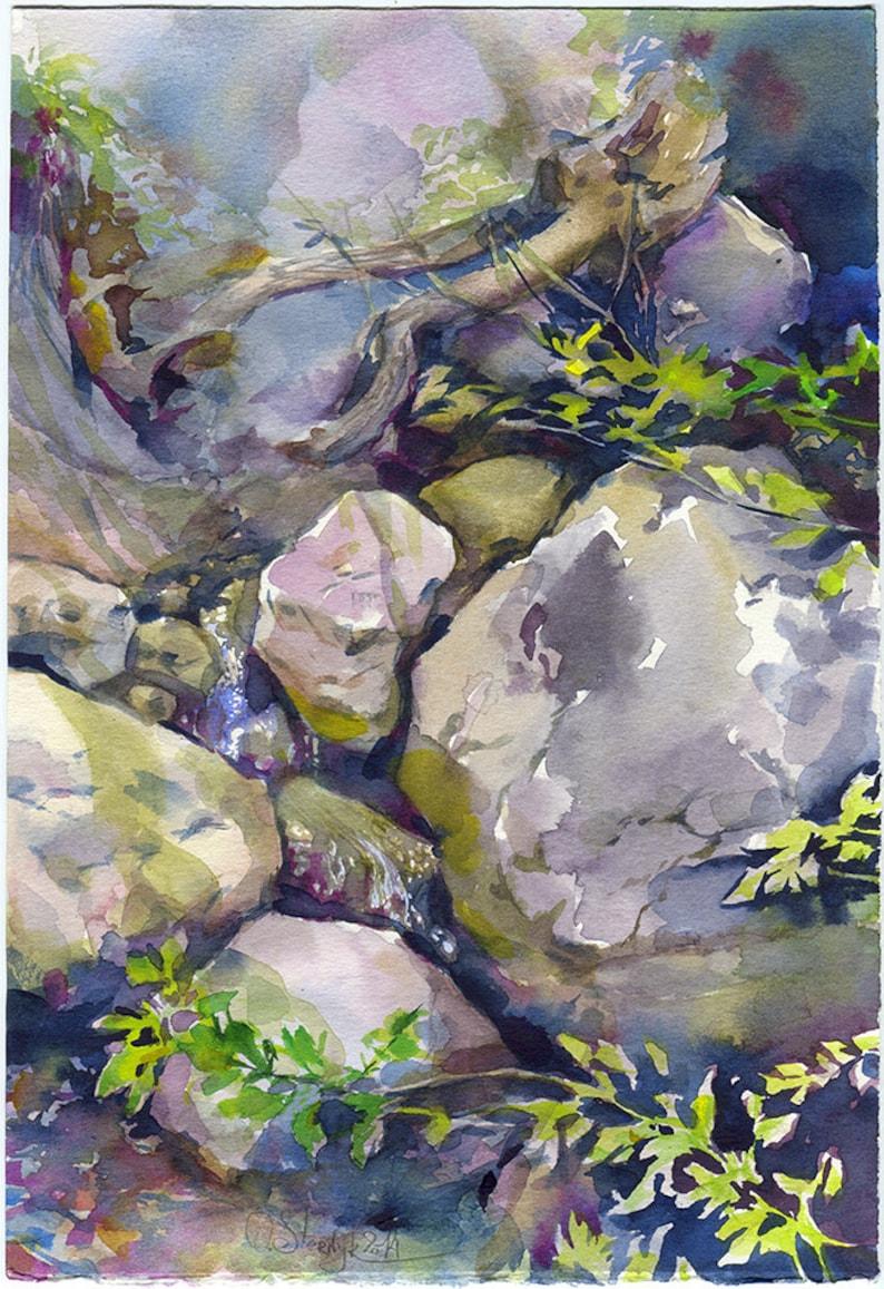 Rocks Watercolor Painting Rock Painting Stones Watercolor Painting Rocks Print