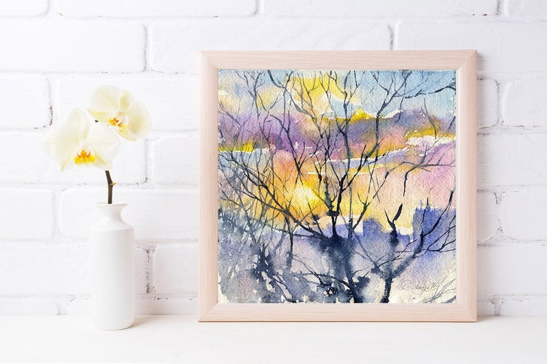 Print of Sunset watercolor painting  fine art print sun image 0