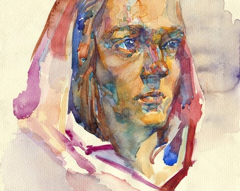 Young woman portrait watercolor - Original painting - girl model, watercolour on paper