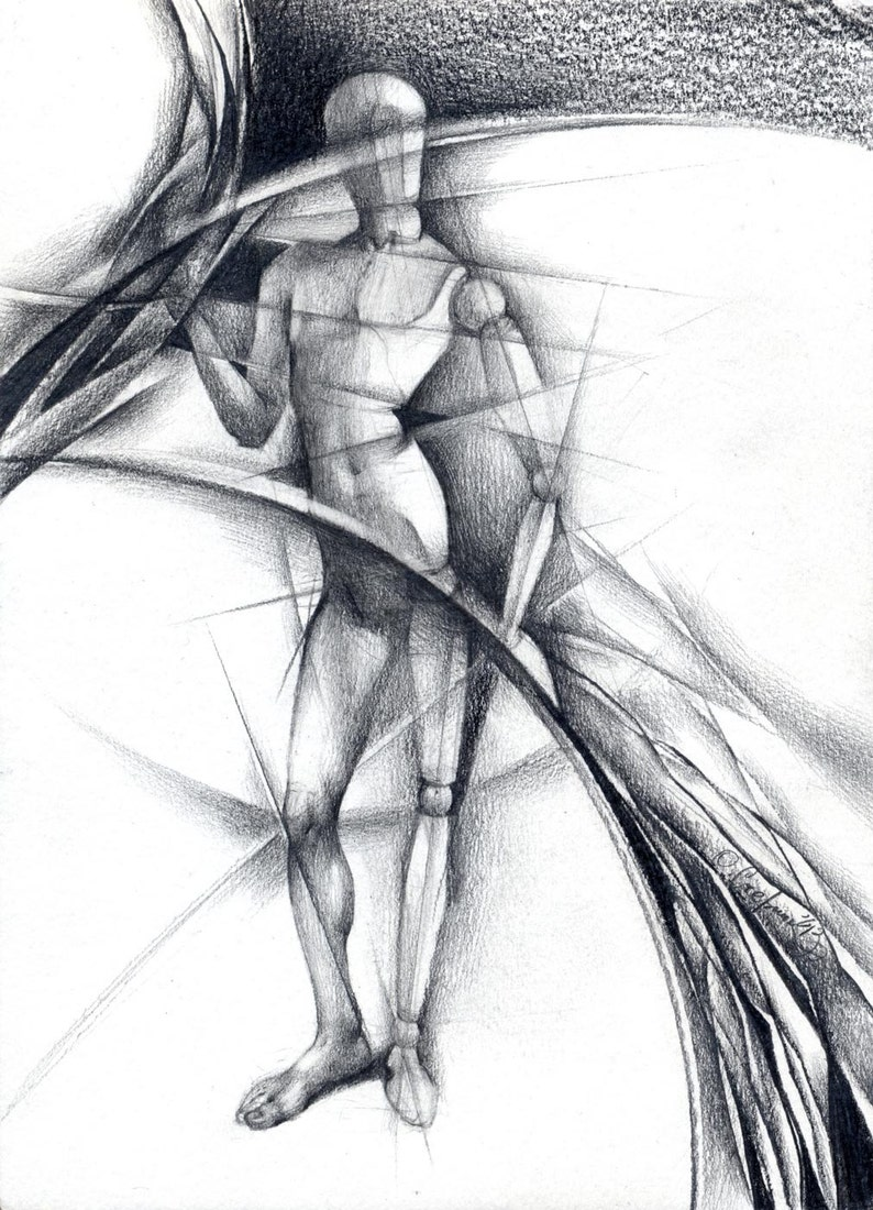 Abstract pencil drawing original figurine drawing hinges surrealism paper