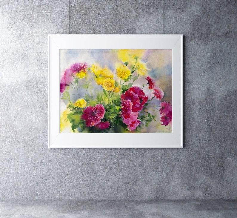 Chrysantheum flowers watercolor  original chrysanthemums image 0